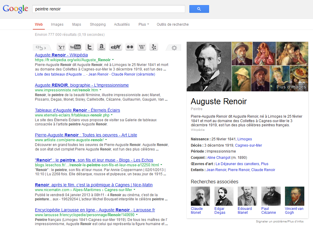 Exemple de résultat fourni par knowledge graph